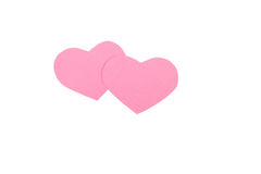 Pink paper Saint Valentines hearts isolated Stock Photography