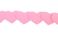 Pink paper Saint Valentines hearts isolated. Pink paper Saint Valentines hearts  isolated on white Stock Photo
