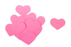 Pink paper Saint Valentines hearts isolated. Pink paper Saint Valentines hearts  isolated on white Royalty Free Stock Images
