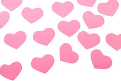 Pink paper Saint Valentines hearts isolated. Pink paper Saint Valentines hearts  isolated on white Stock Photography