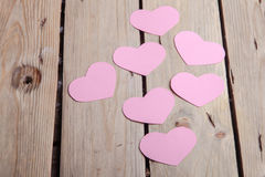 Pink paper Saint Valentines hearts Royalty Free Stock Photo