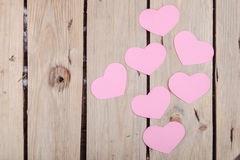 Pink paper Saint Valentines hearts Stock Images