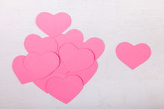 Pink paper Saint Valentines hearts Stock Photos