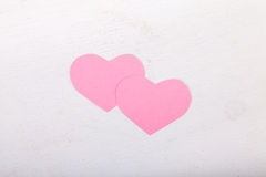 Pink paper Saint Valentines hearts Royalty Free Stock Photos
