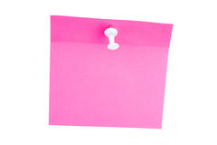 Pink paper sheet pinned white pushpin Royalty Free Stock Photography