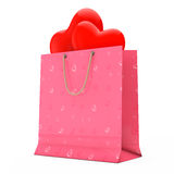 Pink Paper Shopping Bag with Red Hearts. 3d Rendering Stock Images
