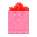Pink Paper Shopping Bag with Red Hearts. 3d Rendering Stock Photos