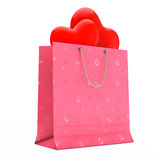 Pink Paper Shopping Bag with Red Hearts. 3d Rendering Stock Image
