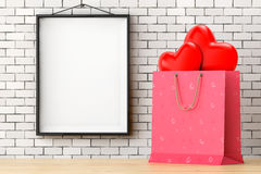 Pink Paper Shopping Bag with Red Hearts in front of Brick Wall w. Ith Blank Frame extreme closeup. 3d Rendering Stock Photography