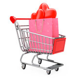 Pink Paper Shopping Bag with Red Hearts in Shopping Cart. 3d Ren Royalty Free Stock Images