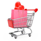 Pink Paper Shopping Bag with Red Hearts in Shopping Cart. 3d Ren Royalty Free Stock Photos