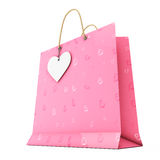 Pink Paper Shopping Bag with White Heart Label on Rope. 3d Rende Stock Photo