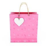 Pink Paper Shopping Bag with White Heart Label on Rope. 3d Rende Royalty Free Stock Images