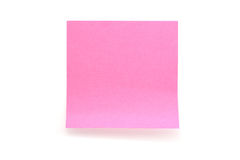 Pink paper stick note on white background Stock Image