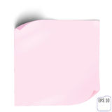 Pink Paper sticker with shadow. Blank web banner or curl label o. N white background. Vector white post note for advertising design Stock Photography