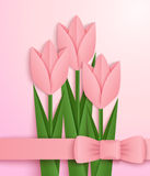 Pink paper tulips card. Greeting card decorated with pink origami tulips and ribbon. Vector Royalty Free Stock Photo