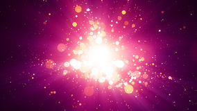 Pink Particles Light Center Background. Background with abstract particles and shining light rays. 8K Ultra HD Resolution at 300dpi Stock Illustration