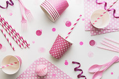 Pink party background. Overhead view Stock Images