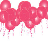 Pink Party Ballons. 3D coloured Pink ballons with coloured cords Stock Images