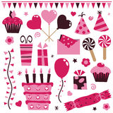 Pink party elements Royalty Free Stock Photography