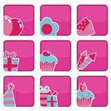 Pink party icons Royalty Free Stock Photo