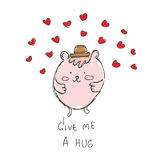 Pink pastel bear with brown hat  red heart hand drawn with te Stock Photo