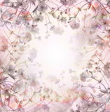 Pink pastel  flowers background, floral border Royalty Free Stock Photo
