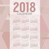 2018 Pink Pastel Geometric Pattern Printable Calendar Starts Stock Photos
