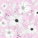 Pink pastel seamless floral pattern Stock Photo
