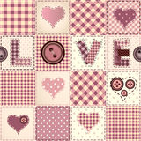 Pink patchwork with the word Love. Stock Photos