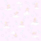 Pink pattern with angels, clouds and bubbles Royalty Free Stock Image