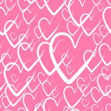 Seamless hearts background. hearts for Valentine`s day, vector illustration. pink pattern background with hand drawn elements. Pink pattern background with hand royalty free illustration