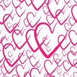 Seamless hearts background. hearts for Valentine`s day, vector illustration. pink pattern background with hand drawn elements. Pink pattern background with hand vector illustration
