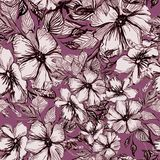 Pattern with black flowers and branches royalty free illustration