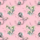 Pink pattern with gray roses. And yellow flowers Royalty Free Stock Image