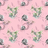 Pink pattern with gray roses. And plants Royalty Free Stock Photography