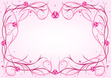 Pink pattern with hearts. Pink vegetative pattern with hearts on gradient background Royalty Free Stock Image