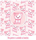 Pink pattern with kitties drawn in kawaii style with vector-applied swatch. Pink kitten and pattern with kitties drawn in kawaii style & vector-applied swatch in Stock Images