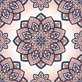 Pink pattern with mandalas. Vector seamless pattern with stylized floral mandalas. Gentle ornament on a white background. Oriental template for design textiles Royalty Free Stock Photography