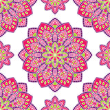 Pink pattern with mandalas. Vector seamless pattern with stylized floral mandalas. Gentle ornament on a white background. Oriental template for design textiles Stock Photo