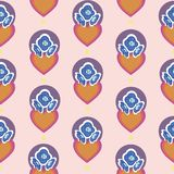 Pink pattern with orange hearts and blue flowers. vector illustration