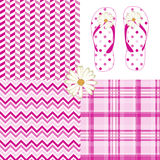 Pink Pattern Pack Chevron Daisy Flip Flops Dots. Pink pattern pack vector illustration drawing with chevron, polka dot, plaid, herringbone and flip flop daisy Royalty Free Stock Photos