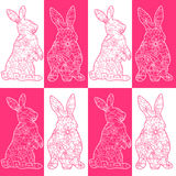 Pink pattern with rabbits Stock Photos