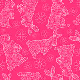 Pink pattern with rabbits Stock Images