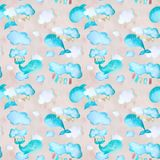 Pink pattern with whales stock illustration