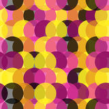 Pink pattern with yellow and blck round Royalty Free Stock Photography