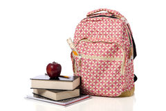Pink Patterned Back Pack with supplies Stock Images