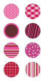 Pink Patterned Circles. Set of coordinating patterned circles Royalty Free Stock Image