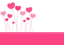 Pink patterned hearts invitation card Stock Images