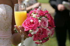 Pink and Pearl bouquet. Pink and pearl bridesmaid outdoors Royalty Free Stock Photo